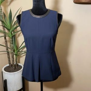 Madewell leather trimmed peplum top